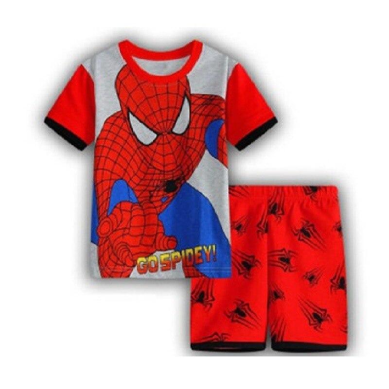 13 Kids Boys Girls Pajamas Cartoon Spider-Man Set Baby Sleepwear Cotton Superhero Costumes Shorts + Short Sleeve Tees Baby Clothing