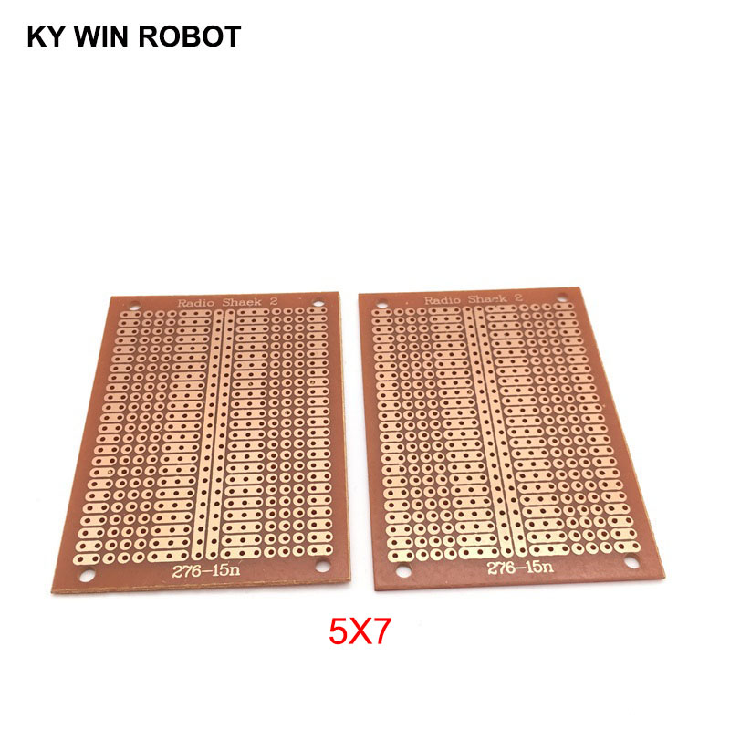2pcs/lot DIY Prototype Paper PCB Universal Experiment Matrix Circuit Board Two Holes Three Connected Hole Single Hole 5x7CM