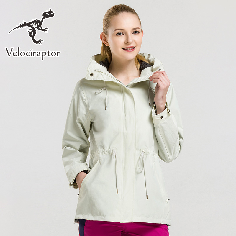 Velociraptor Women s Solid Color Adjustable Waist Drawcord Waterproof Windproof Outdoor Hooded Fleece Jacket
