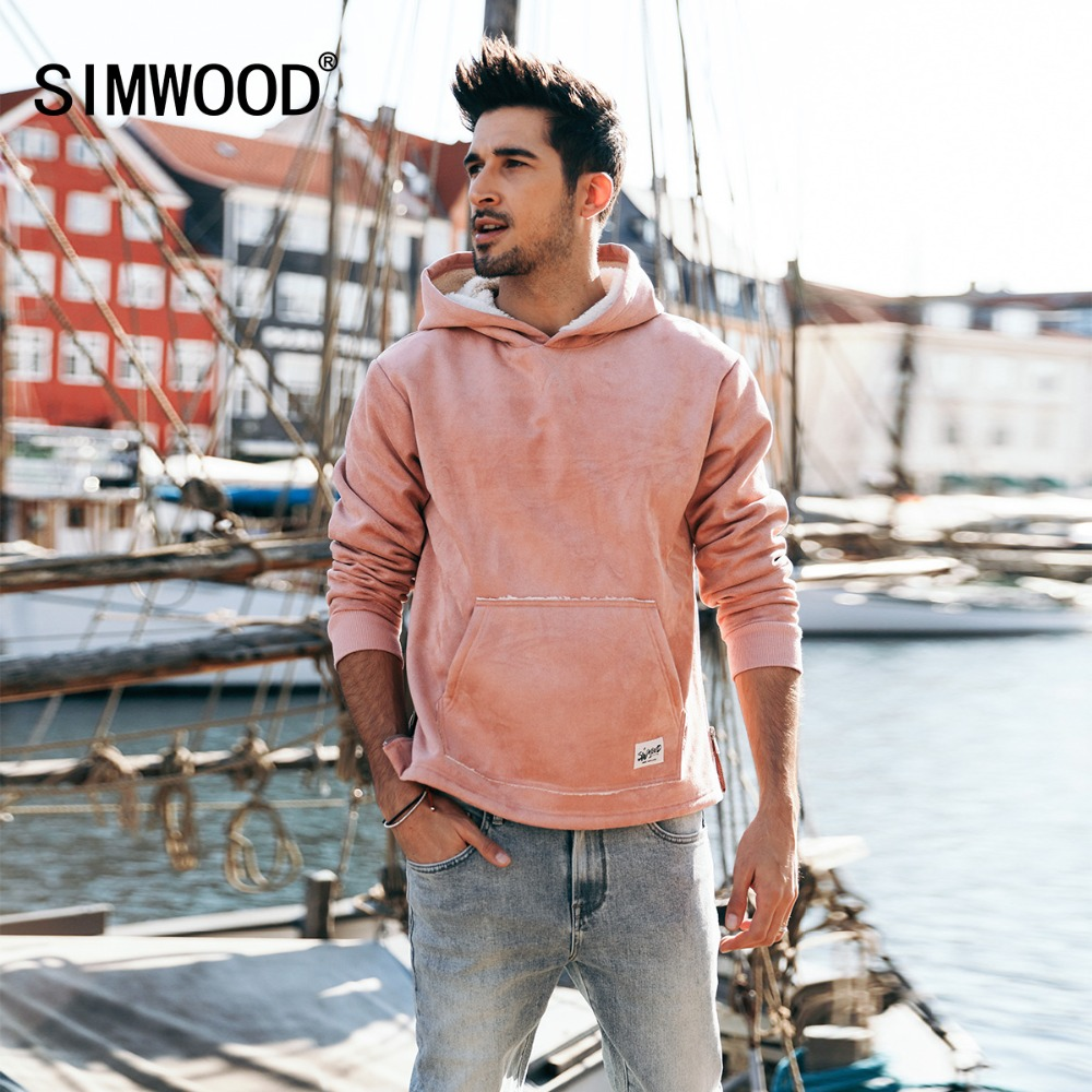 SIMWOOD 2019 Hot Sale Suede Hoodies For Men Hip Hop Fleece Jackets Hoodie Slim Fit Sweatshirt Tracksuit Pullover Male 180467-in Hoodies & Sweatshirts from Men's Clothing    1