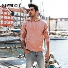 Simwood 2019 venda quente suede hoodies para homens hip hop jaquetas de lã com capuz fino ajuste moletom agasalho pulôver masculino 180467
