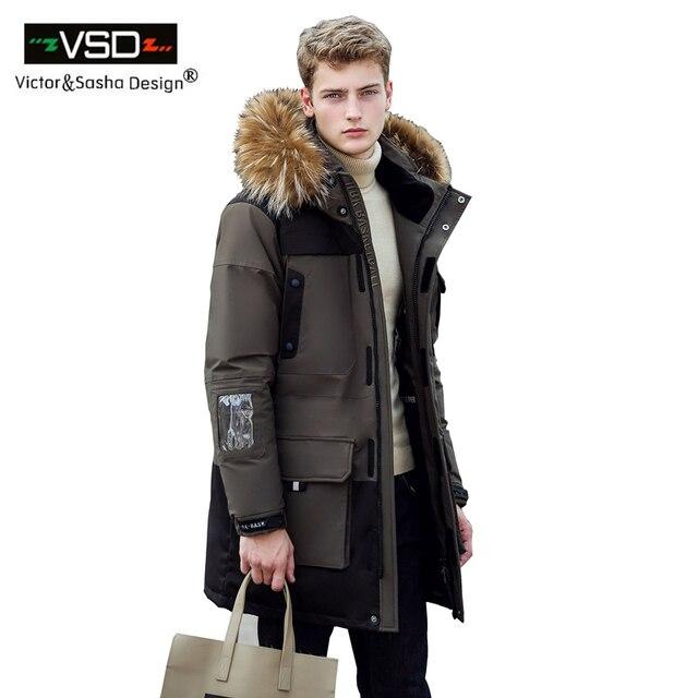 Виктор и Саша Дизайн 2016 Новые Длинные Зимние мужская Одежда Повседневная Куртка И Утолщение Утка Вниз Парки Мужской Большой пальто VSD