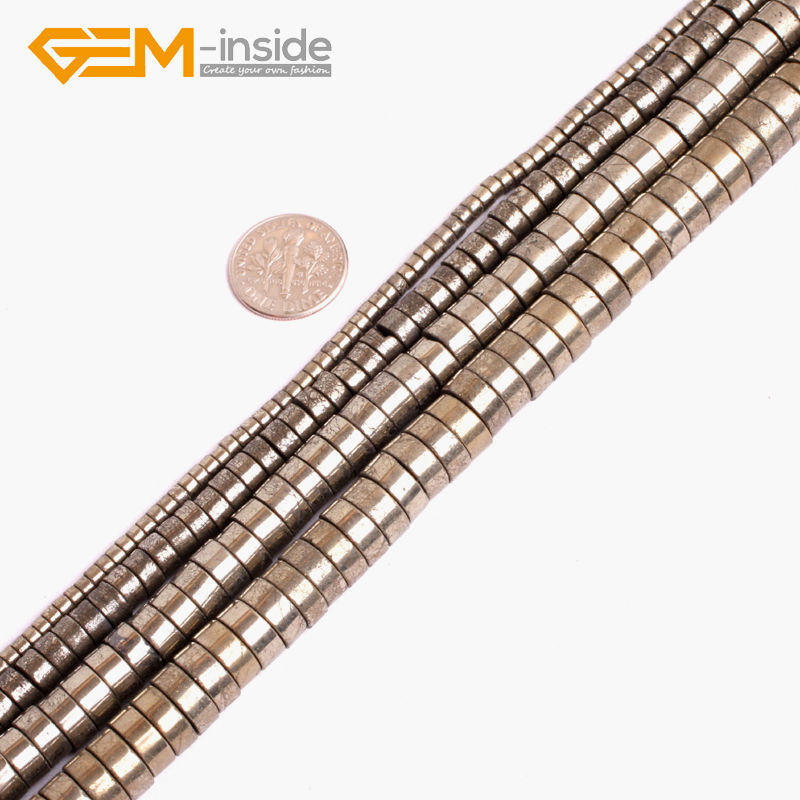 """Natural Silver Pyrite Rondelle Loose Stone Beads For Jewelry Making Gemstone 15/"""""""