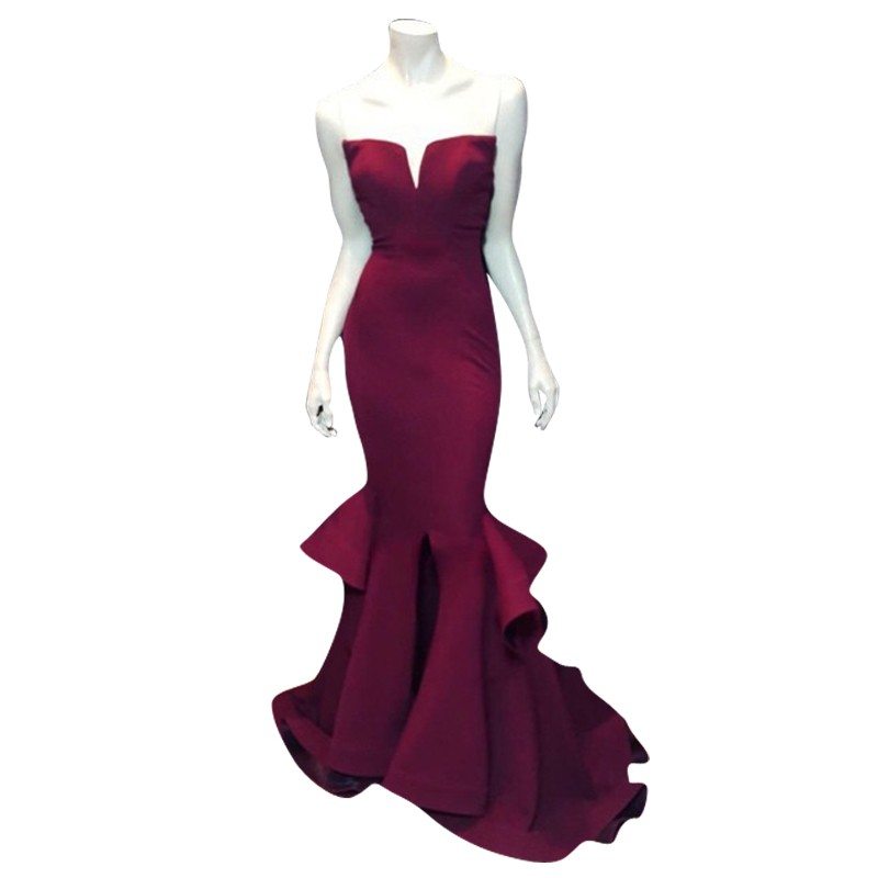 Burgundy Black Purple Pink White Mermaid   Prom     Dresses   Ruffles Front Slit Women Formal Evening Gowns 2019