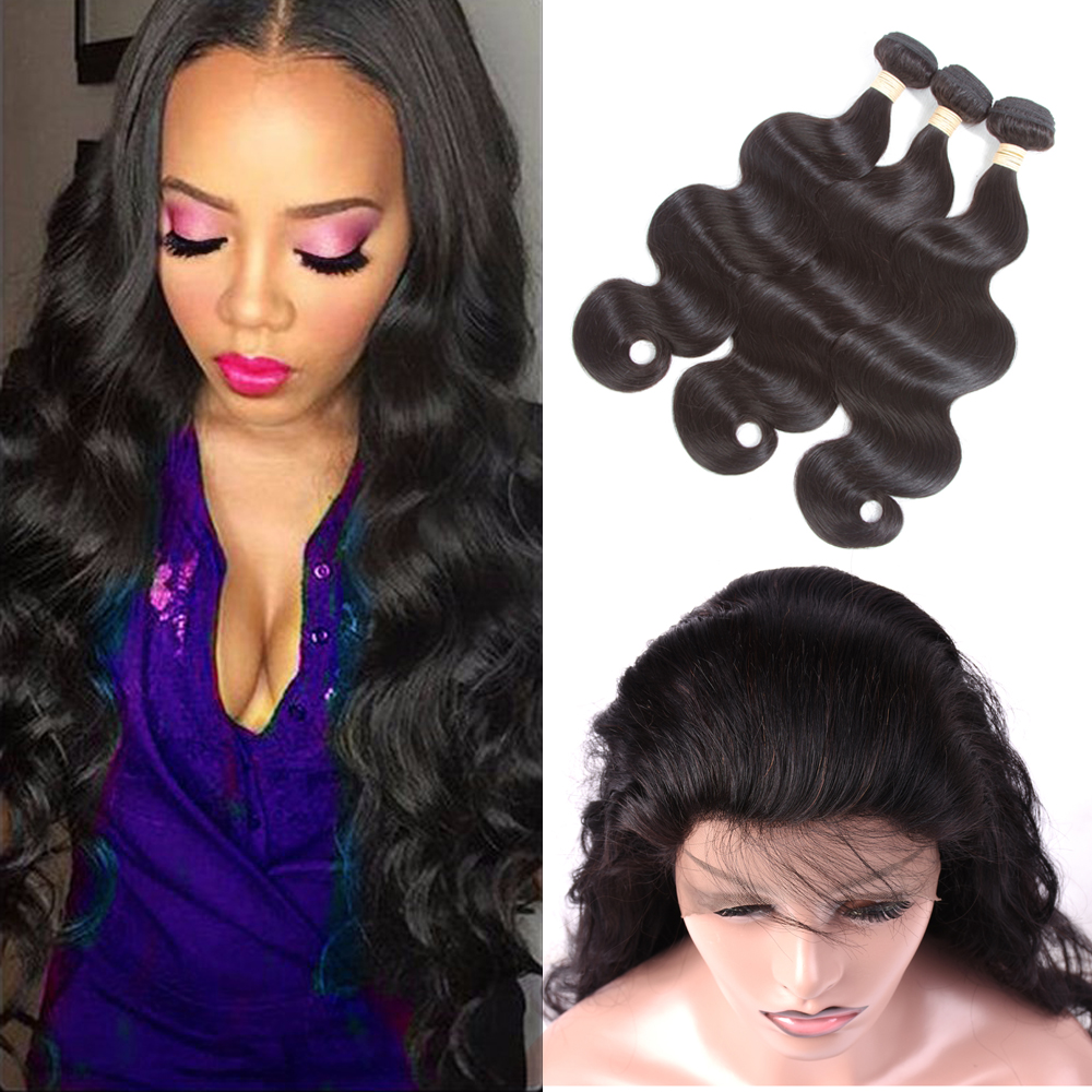 Indian Body Wave Human Hair Weave 3 Bundles With Lace Frontal Closure 360 Lace Frontal With Bundles Indian Hair Weave