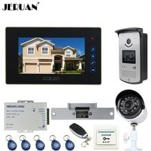 "JERUAN Home 7"" TFT Touch key Video Door Phone intercom System kit waterproof RFID Access IR Camera + 700TVL Analog Camera 2V1"