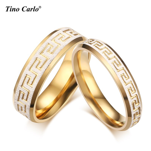 2pcs Lots Trendy Wedding Bands Ring For Lover Luxury Greek Key Pattern Gold Color