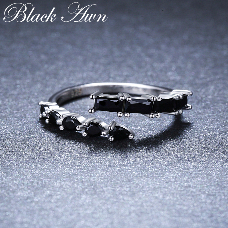 2019 New Bijoux Trendy 925 Sterling Silver Fine Jewelry Black Spinel Engagement  Ring For Women Anillos Mujer G067