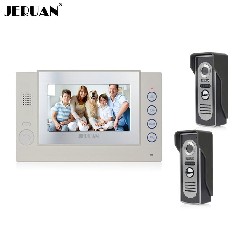 JERUAN Two to one video door phone intercom system 7 inch video doorphone video recording doorbell Speaker intercom