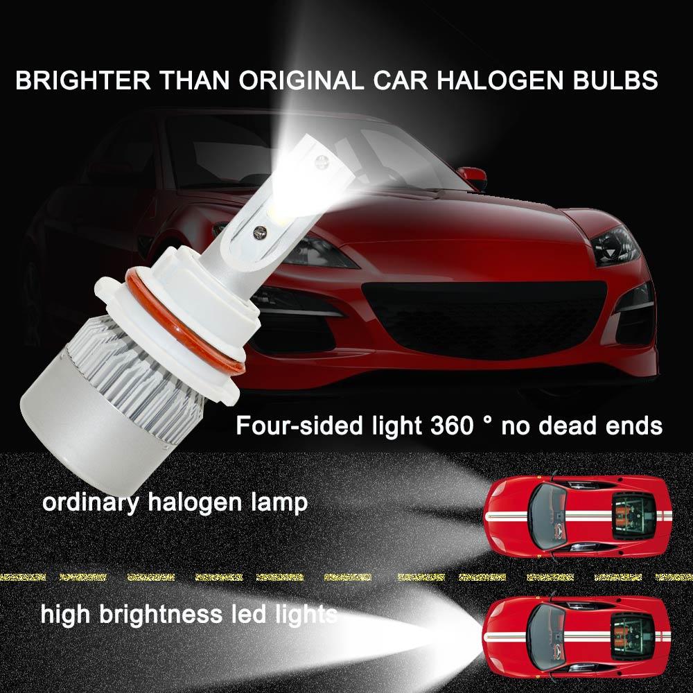 2 pieces Good Quality Led 9004 HB1 7200lm Driving car-styling 6000K Car Headlight Fog Light Conversion Kit EMC auto led light