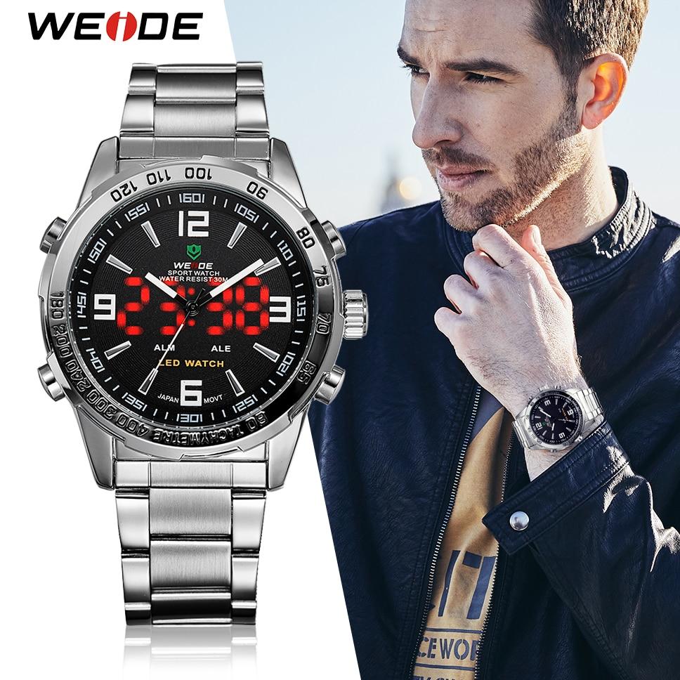 WEIDE hombres relojes de cuarzo Digital LED Hora de negocios Dial negro reloj de pulsera, reloj a prueba de ejército militar reloj Masculino 2018