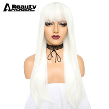 ANOGOL BEAUTY Hair Cap+ White High Temperature Fiber Peruca Perruque Natural Straight Long Synthetic Wig With Bangs For Women(China)