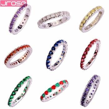 JROSE, venta al por mayor, corte redondo violeta para boda, anillo de Color plata CZ, talla 6 7 8 9 10 11 12 13 para mujeres, joyería de moda para mujer