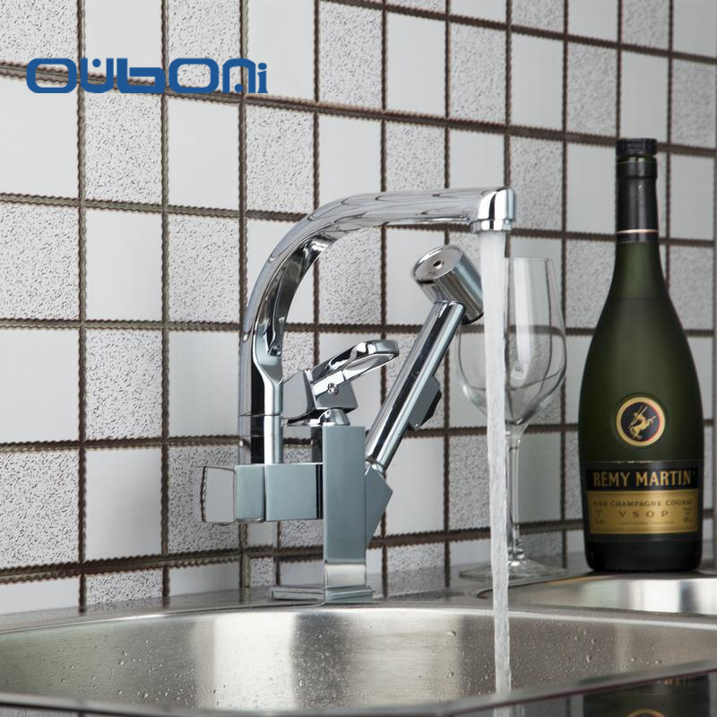 Shiver Modern Hot/Cold Swivel 360 Pull Out Kitchen Faucet Chrome torneira Basin Mixer Brass Taps Vessel Vanity Sink Deck Mounted chrome shivers new free brass pull out kitchen sink faucet torneira 8555 swivel spout basin deck mounted sprayer hot