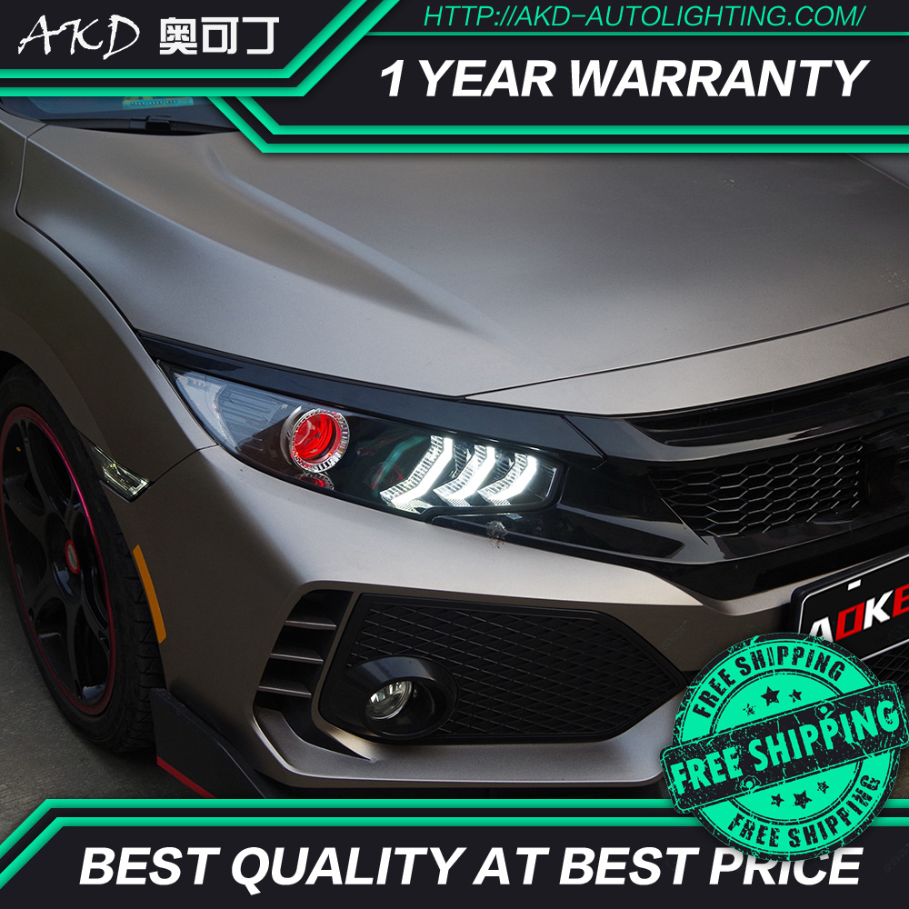 AKD Tuning Cars Headlight For Honda CIVIC X G10 MK10 Headlights LED DRL Running Lights Bi-Xenon Beam Fog Lights Angel Eyes Auto