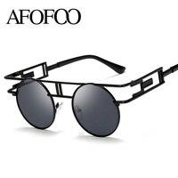 AFOOF Fashion Metal Frame Steampunk Sunglasses Brand Designer Women Unique Round Sun Glasses Men Gothic