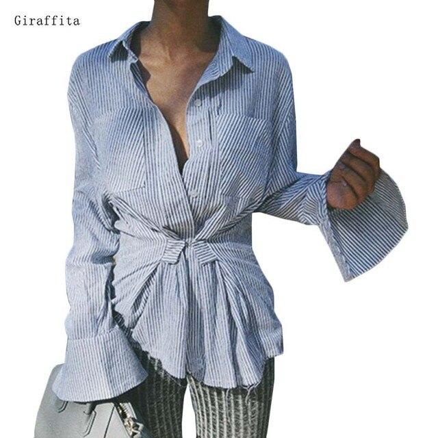 046b3aec0ba Giraffita Mulheres Blusas Listradas de Azul E Branco de Manga Longa Partes  Superiores das mulheres Camisas