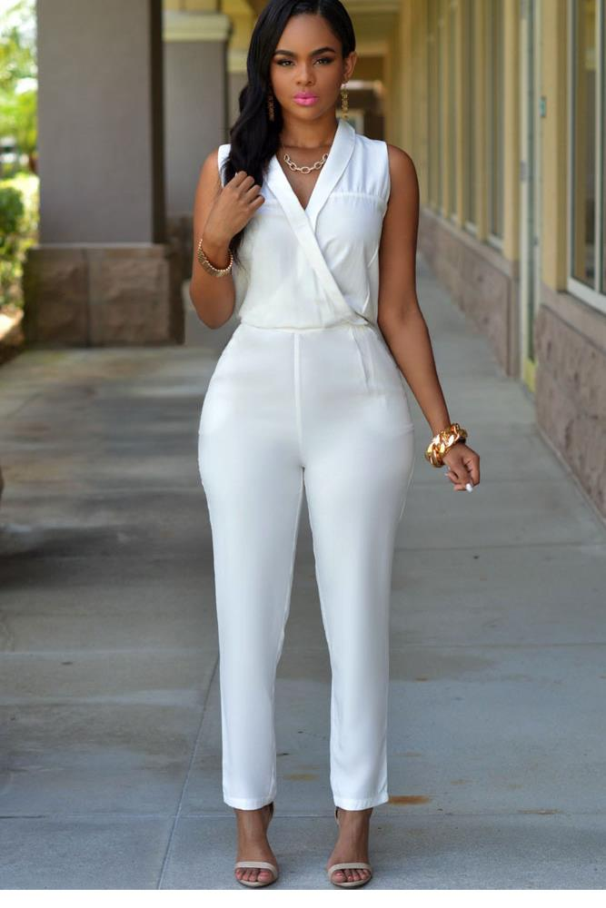 Images of All White Jumpsuit For Women - Reikian