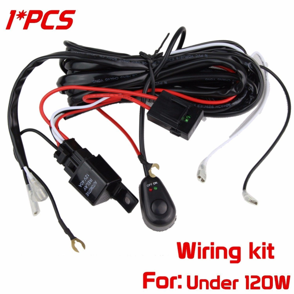 1x 12v 40 Universal Led Light Bar Work L Wiring Harness Kit With Relay On: Wiring Harness Kit For Led Lights At Satuska.co