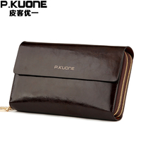 P KUONE Genuine Leather Clutch Bag Fashion High Quality Mesenger Bags Big Capacity Wallets Luxury Brand