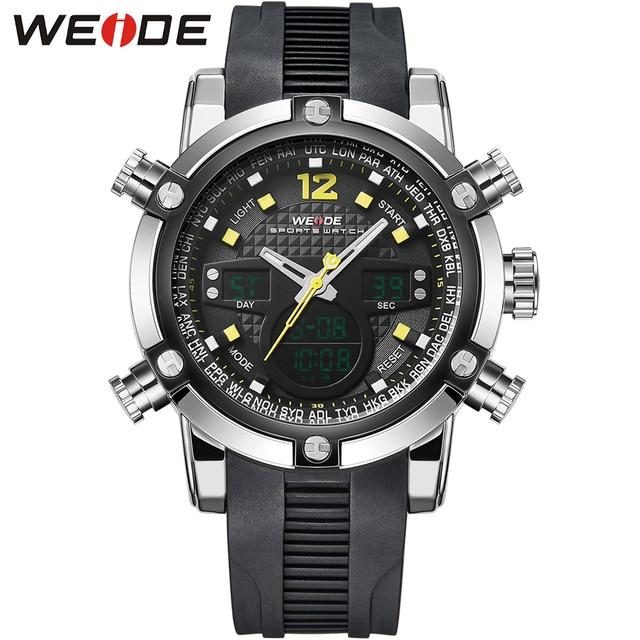 WEIDE Original Brand Men Sports Watches Aanlog Digital Watch 3ATM Waterproof Alarm Fashion Outdoor Military Men Wristwatches
