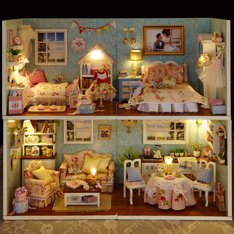 3D Wooden DIY Miniatura  House Toy Happiness Series 4 Stlys DIY Blocks  With Furniture LED Lights Birthday Gift