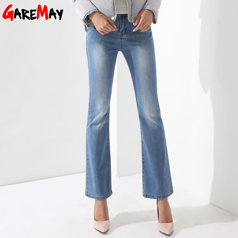 Flared Jeans Woman Bell Bottom Jeans Femme Denim Pants Wide Leg Pantalones Vaqueros Mujer Causal Trousers Pant Ladies GAREMAY womens ripped jeans with embroidery summer 2017 ladies straight cotton denim casual pants pantalones vaqueros mujer garemay 2610
