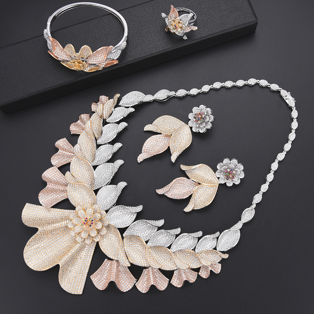 Fashion Blossom Leaf Nigeria Bridal Wedding Jewelry Sets CZ Indian African Wedding Necklace Earrings Bracelet Ring Jewelry Set free shipping new 22pcs avengers pvc shoe charms shoe accessories shoe buckle for wristbands bands