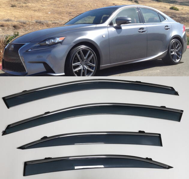 4pcs Accessories Vent Window Visors Shades Shade Visor Rain Guards For Lexus IS200 IS250 IS300 IS350 XE30 2014-2019 Car styling4pcs Accessories Vent Window Visors Shades Shade Visor Rain Guards For Lexus IS200 IS250 IS300 IS350 XE30 2014-2019 Car styling
