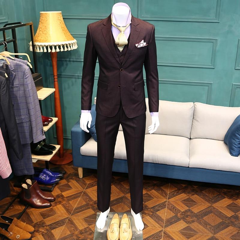 Hombres Pieces Nuevos Trajes Blazer Vestidos 2018 Ocasional Chaquetas  Delgado De Blazers Traje Chaqueta Púrpura La ... 7f3f2c1eb43
