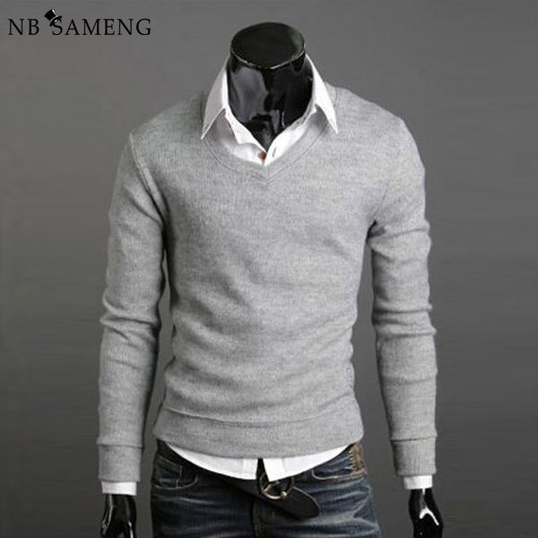 72b895b056b7 2018 New Fashion Men Sweater Knitting Jumpers Knitwear Sweaters Pullover  Casual Slim Fit V-Neck Basic Warm Tops Dress