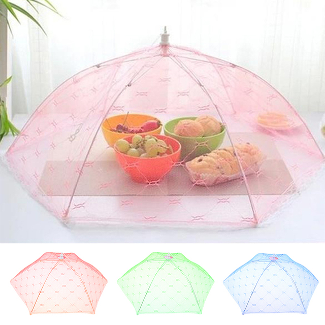 35 40cm Gauze Umbrella Food Cover Picnic Kitchen Anti Fly Mosquito
