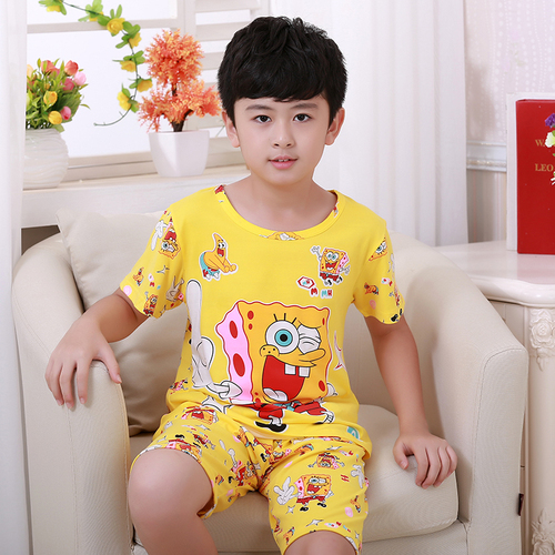 Summer Children Pajamas Short Sleeve Cartoon Kids Catamite Girl Clothes Suit Lovely Children's Pyjamas Boy Sleepwear Home Cloth