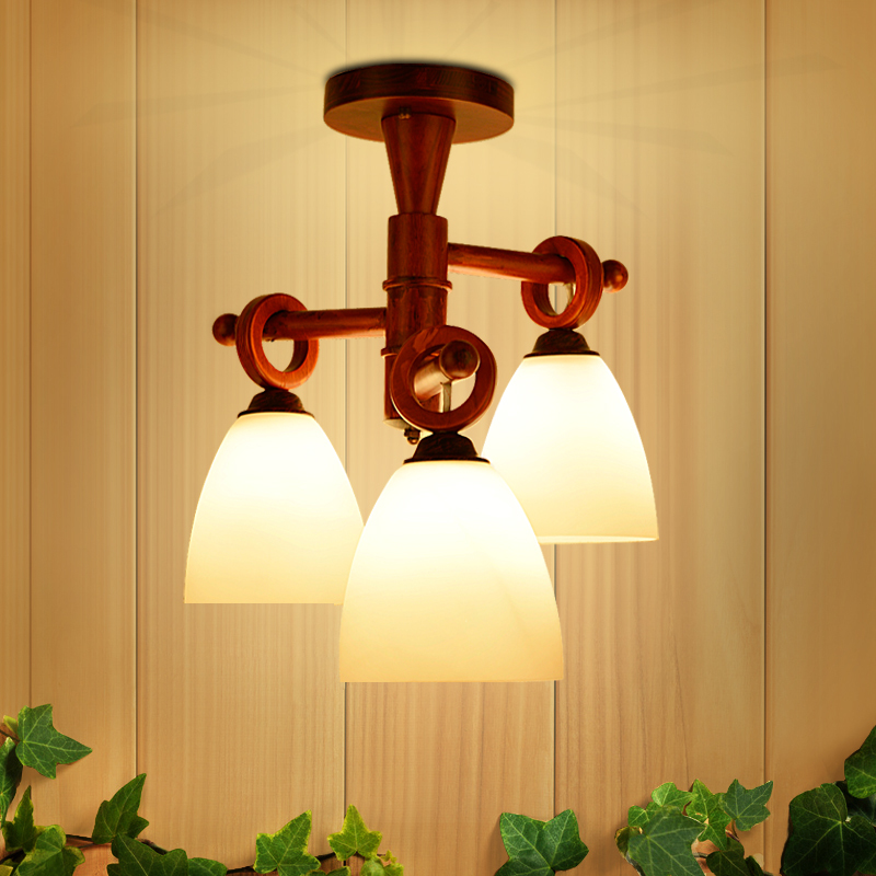 Solid Wood ceiling light retro Bedroom Study Lamps Originality Children living Room ceiling lamps home lighting 3 heads ZA323565