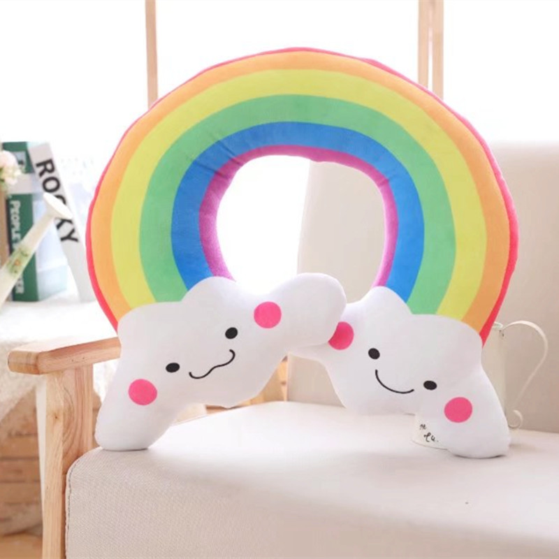 40X50cm Rainbow Cloud Cute Smile Toy U Shaped Pillow Cushion Stuffed Dolls Car Pillows Birthday Gift Home Shop Decor