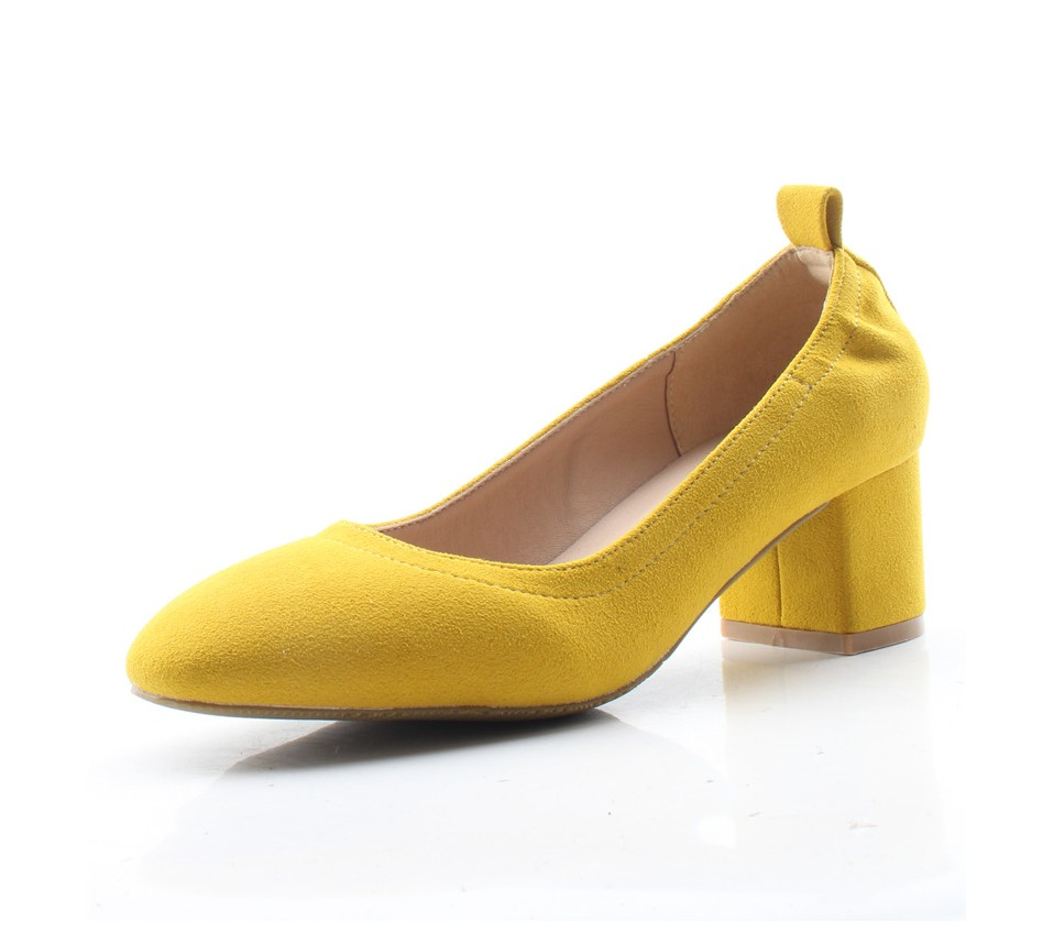 Shoes Women Genuine Leather Fashion Office and Career Rounded Toe 2-inch Block Heel Fashion Office Lady Pumps Size 34-41, K-307 59