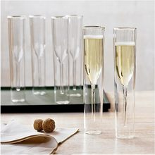 Champagne Glass Double Wall Glasses Flutes Goblet Bubble Wine Tulip Cocktail Wedding Party Cup Toast Bodum Thule Xicaras Copo(China)