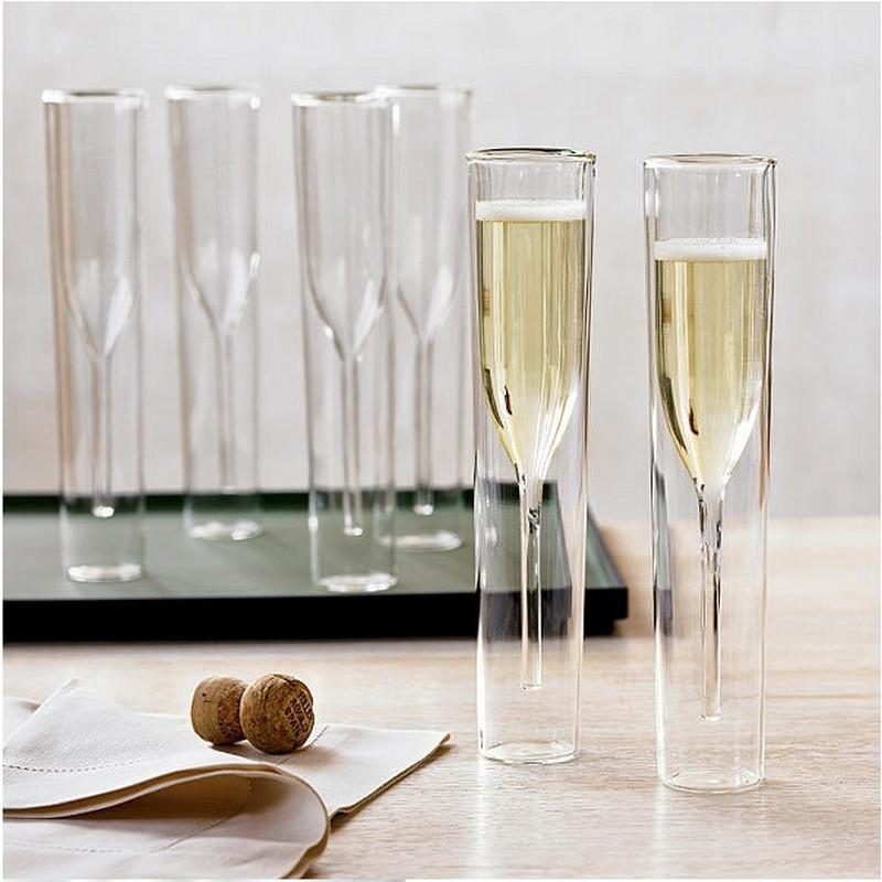 Verre à Champagne Double paroi verres flûtes gobelet bulle vin tulipe Cocktail mariage fête coupe Toast Bodum Thule Xicaras Copo