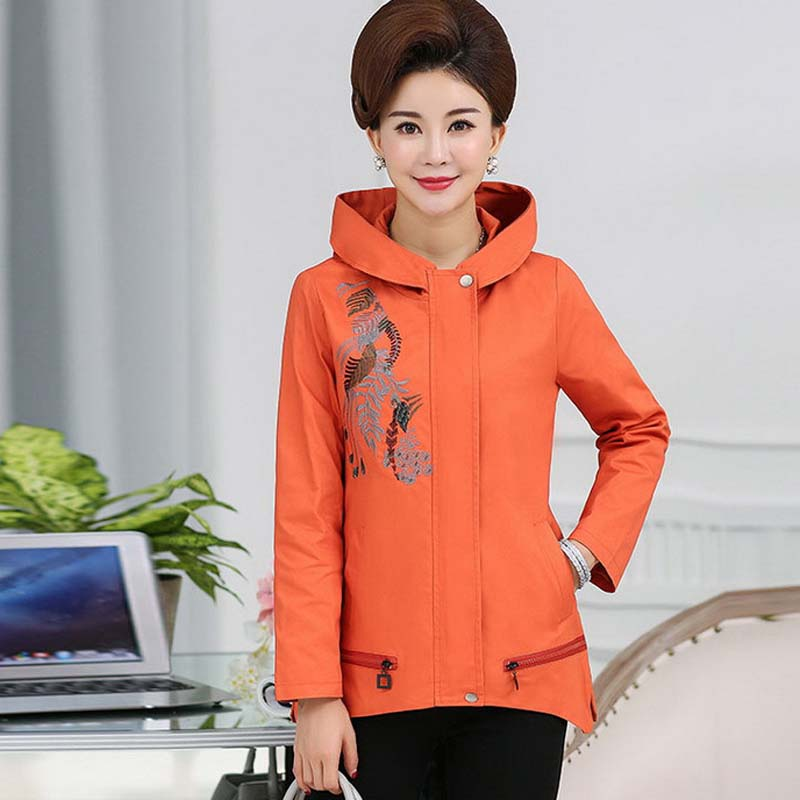 Middle Aged And Older Womens Large Size Coats And Embroidered Hoodies -6209