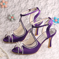 Wedopus MW0523 Nome Personalizado Handmade Gladiador Sandálias Da Marca Saltos de Casamento Roxo de Cetim