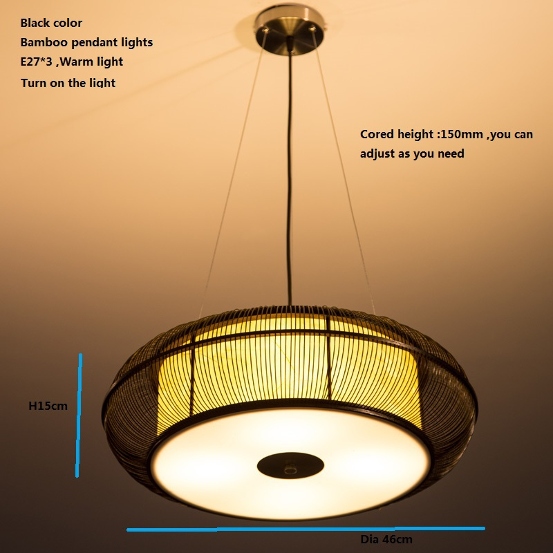 Neuen Chinesischen Stil Led Kronleuchter Schlafzimmer Droplight Dia46cm H15cm E27 3 Bambus Handgestrickte Lndlichen