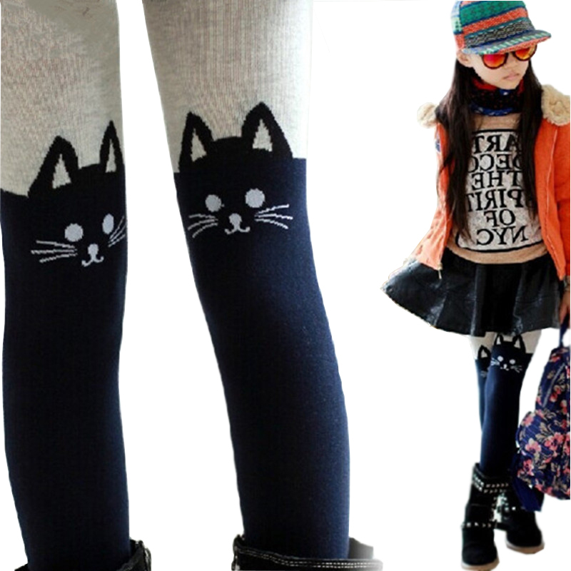 2019 Spring Autumn Girls Tights Cartoon Cat Patchwork Baby Girl Pantyhose Knitted Cotton Cute Kids Stocking Cotton Warm Tights