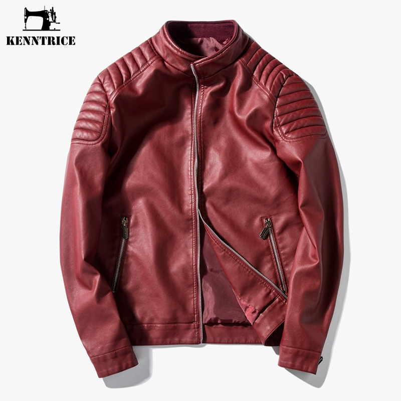 ef4906d4 US $33.26 41% OFF|Kenntrice 2017 Red Leather Jacket Mens Youth Spring  Autumn High Quality Male Leather Jackets Fashion Red Blue Man Leather  Coat-in ...