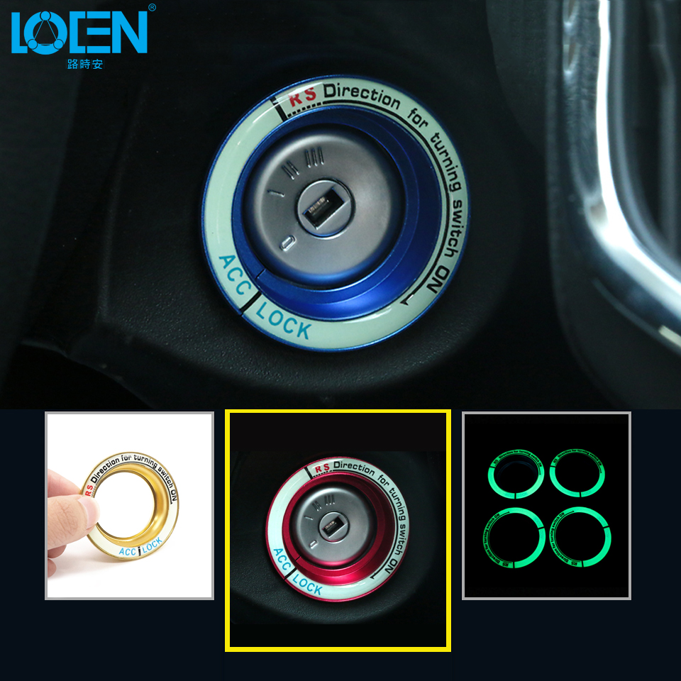 1PC Luminous Car Ignition Switch Cover Decoration Auto Modified Noctilucous Keyhole Cover Special Fit For Ford Focus Kuga Mondeo