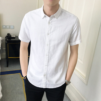 2019 spring summer new men's casual solid color White Thin Shirt Chinese style cotton linen short sleeve lining camisa masculina