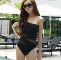 Women One Piece Swimsuit Vintage Swimwear Beach Mesh One Shoulder Swimsuit Black Sexy Monokinis Brand 1277