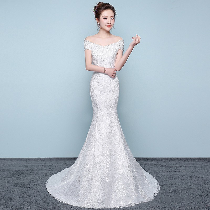 Luxury Sexy Mermaid Wedding Dresses Appliques Off The Shoulder Elegant Bride Dresses With Sweep Train Vestidos De Novia 2020