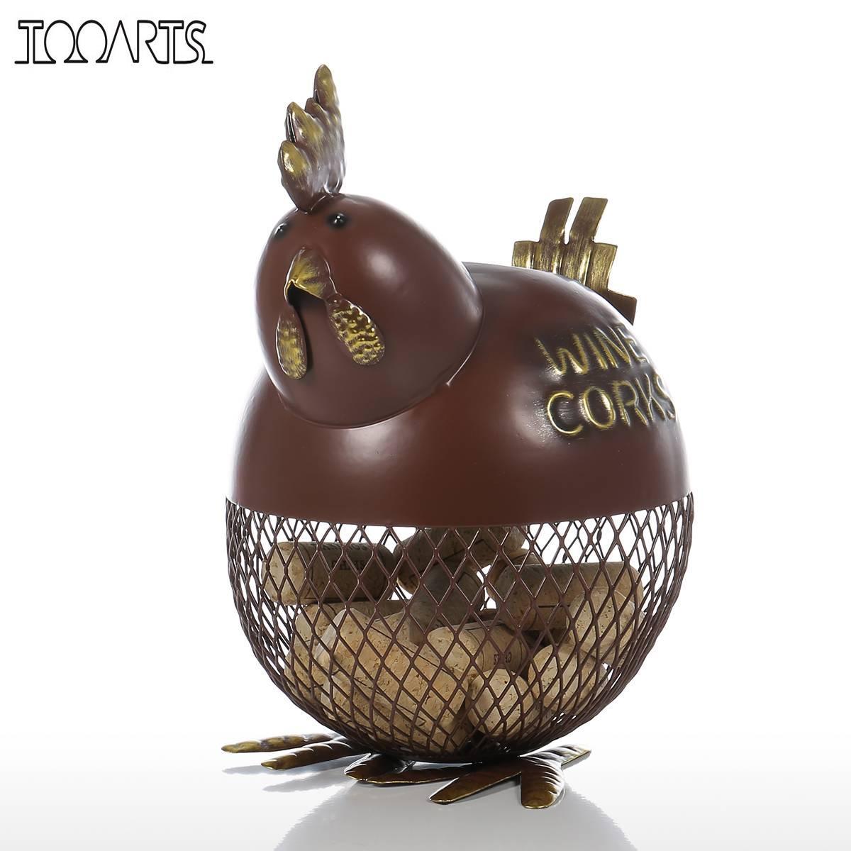 Cork Animals: Tooarts Metal Sculpture Puffy Chicken Wine Cork Container