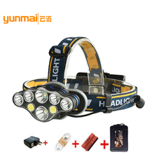 15000LM XM-L T6 COB LED Headlamp Headlight 8 Modes USB Charging Head Torch Flashlight Head Lamp Fishing Hunting Lantern Light Q usb 15000lm 5 led headlamp 3 cree xml t6 2q5 white blue light headlight head lamp lighting flashlight torch lantern fishing