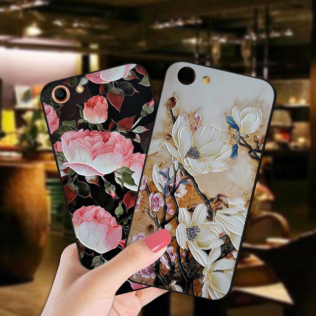 3D Relief Flower Case For OPPO F1S A59 A71 A83 A1 A3S AX5 A7 Luxury Flowers Soft Black Cover For OPPO F3 PLUS F5 A79 F7 F9 Cover